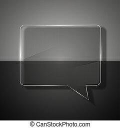 bubbla, bakgrund., anförande, färgrik, glas
