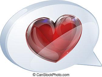 bubbla, hjärta, anförande