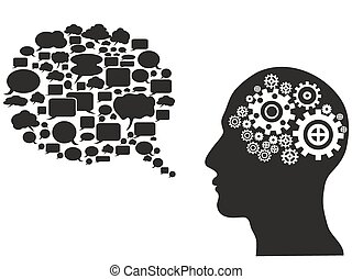 bubbla, huvud, anförande, utrustar
