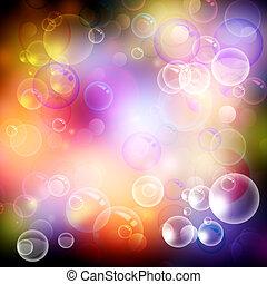 bubbla, och, bokeh., abstrakt, kurort, och, hälsa,...