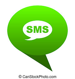 bubbla, sms, grön, ikon