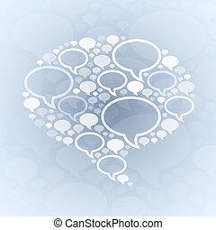 bubbla, symbol, pratstund, grå, bakgrund