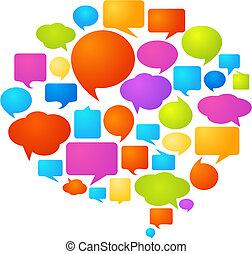 bubblar, anförande, färgrik