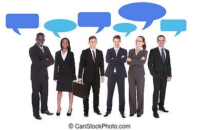 bubblar, anförande, multiethnic, affärsfolk