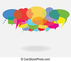 bubblar, anförande, prata