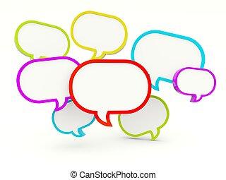 bubblar, anförande, vit, isolerat