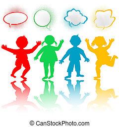 bubblar, färgad, pratstund, barn