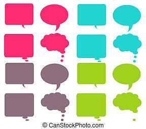 bubblar, färgrik, pratstund