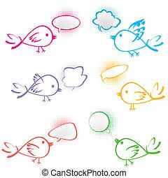 bubblar, grupp, fåglar, pratstund