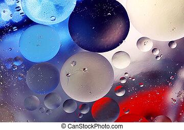 bubblar, in, vatten