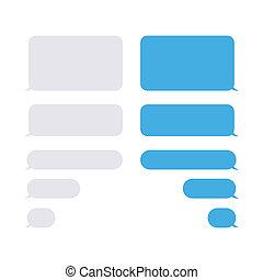 bubblar, isolated., vektor, kommunikation, mms, eps, 10, pratstund, meddelanden, -, bubbla, anförande, eller, text., elements., sms