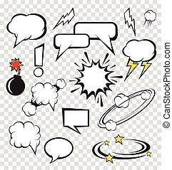 bubblar, komiker, sätta, vektor, anförande