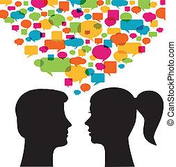 bubblar, kvinna, anförande, man