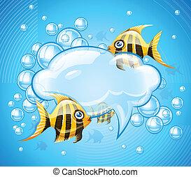 bubblar, moln, in, akvarium, med, guld, fiskar