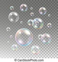 bubblar, pläd, tvål, bakgrund, flerfärgad
