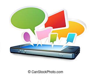 bubblar, smartphone, pratstund