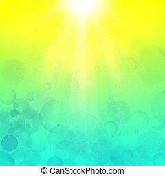 bubblar, stråle, bakgrund, yellow-cyan