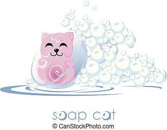 bubblar, tvål, cat., water.