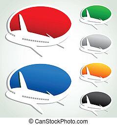 bubblar, vektor, airplane, annons