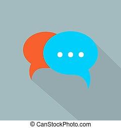 bubblar, vektor, anförande, pratstund, ikon