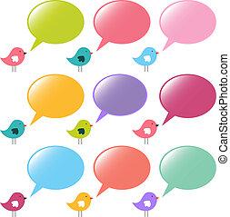 bubblar, vektor, anförande, sätta