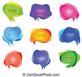 bubblar, vektor, anförande, transparent