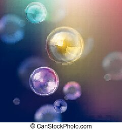bubblar, vektor, glänsande, tvål, illustration