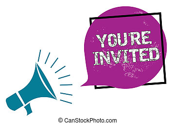 bubble., 写真フレーム, 私達の, invited., ゲスト, 紫色, どうか, 執筆, レ, スピーチ, 概念, あなた, メガホン, 話すこと, ありなさい, ビジネス, 提示, 歓迎, 手, 叫ぶこと, 祝福, 参加しなさい, 私達, showcasing, 大声で