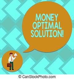 bubble., 写真, 印, ブランク, 最も良く, ネクタイ, スピーチ, 保有物の お金, 概念, optimal, メガホン, テキスト, 提示, ブリーフケース, solution., 会社, 届く, 人, 解決, 解決しなさい, 問題