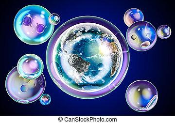 bubble., 概念, 地球, 中, 環境, レンダリング, 地球, 石鹸, 3d