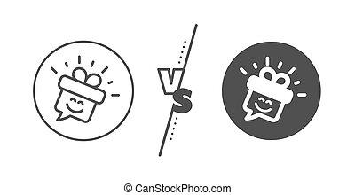 bubble., 贈り物, スピーチ, 微笑, 印。, emoticon, icon., ベクトル, 箱, 線