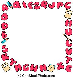 Bubble alphabet frame. Colored abc for kids design. Set of multicolored bright letters for inscriptions