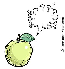 bubble., apple., イメージ, picture., 芸術的, freehand, スピーチ, 漫画