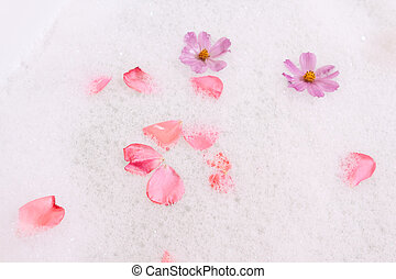 Bubble bath with flowers
