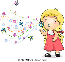 Bubble Blowing Kid - Illustration of a Little Girl Blowing...