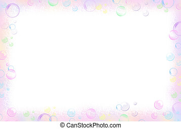 Bubble Border - Pastel border on a white background.
