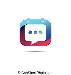 bubble chat logo with calendar concept