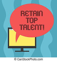 bubble., colorez photo, talent., informatique, vide, ovale, sien, sommet, écriture, parole, conceptuel, écran, capacité, business, projection, main, organisation, monté, employés, garder, showcasing, retenir