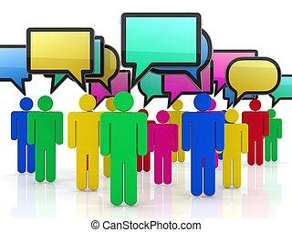 bubble-communication, concept., vrijstaand, toespraak, witte...