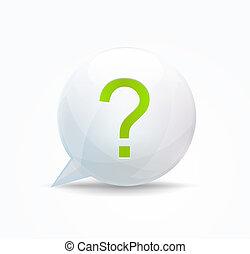 bubble., discorso, concetto, punto interrogativo