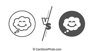 bubble., emoticon, 線, icon., 幸せ, 印。, 漫画, 微笑, スピーチ, ベクトル