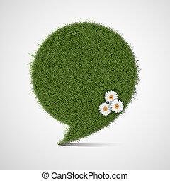 Bubble for speech made of grass
