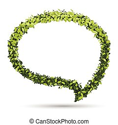 Bubble for speech with Green leaf. vector illustration.