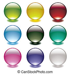 Collection of nine gel filled round bubble icons with bright colorful shadows