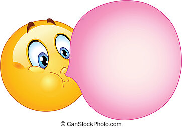 Bubble gum emoticon - Emoticon blowing a bubble gum