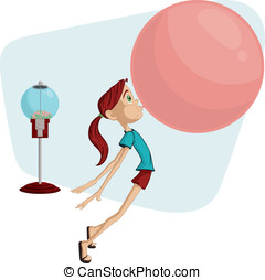 Bubble Gum Girl - This is a vector cartoon of a girl blowing...