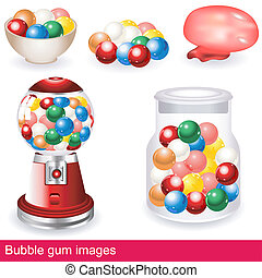 bubble gum images - Collection of different, colorful and...