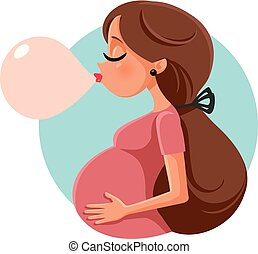 Bubble Gum Pregnant Woman Vector Cartoon