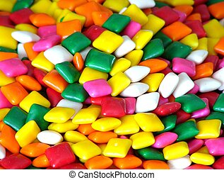 A wide angle view of bubble gum squares