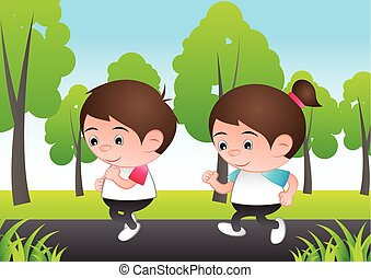 bubble head boy and girl cartoon jogging run at city nature background